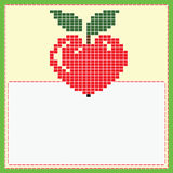 Card with pixel apple Stock Photography