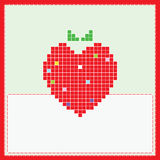 Card with pixel strawberry Royalty Free Stock Photos
