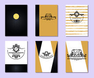 Card with place for your text. Vector. Illustration. Book cover. Card with place for your text. Vector. Illustration.  Set of creative universal  postcards Royalty Free Stock Images