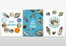 Card planets in solar system and astronaut spaceman. moon and the sun, mercury and earth, mars and venus. astronomical royalty free illustration