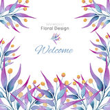Card with plants in watercolor Royalty Free Stock Photography