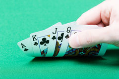 Card player. Male hand with cards Royalty Free Stock Images