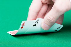 Card player. Male hand with cards Stock Photography