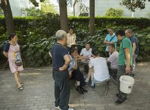 Card players in Shanghai. People play cards for money in People`s park in Shanghai. It is not legal money is not on the table so police could not intervene Royalty Free Stock Photos