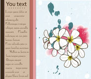 Card with plumeria. Card with tropical flower Plumeria. Vector illustration EPS10 Stock Images