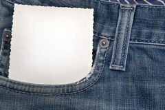 Card in pocket of blue jeans Stock Photo