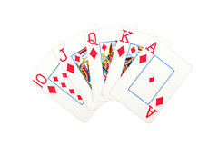 Card with poker win. Red Stock Image
