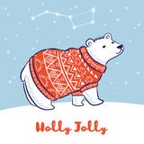 Card with a polar bear in red sweater. Holly Jolly. Winter holidays card. White hand drawn polar bear in red sweater. Vector illustration Stock Photo