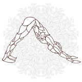 Card with pose ornament yoga. Stylized Yoga Pose of the ornaments of a mandala background. hand drawn.kaleidoscope, medallion, yoga, india, arabic.T-shirt Royalty Free Stock Photography