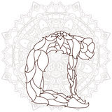 Card with pose ornament yoga. Stylized Yoga Pose of the ornaments of a mandala background. hand drawn.kaleidoscope, medallion, yoga, india, arabic.T-shirt Stock Images