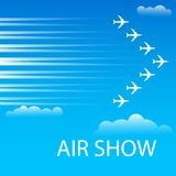 Advertising banner for air show. Card or poster for air show advertising. Airplanes flying in the sky in combat order. Team aerobatic military fighters performs Royalty Free Stock Photo