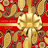 Card. poster, brochure template with oriental flower. paisley or Stock Photos