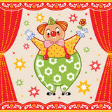 Card, poster or invitation with a circus clown. Royalty Free Stock Images