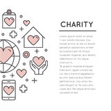 Card or Poster Template with Charity and Fundraising Objects Stock Image