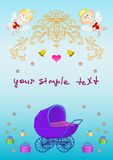 Card. Pram, angels, boxes, bells Royalty Free Stock Image
