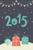 Card with presents for new 2015 year. Christmas and New Year 2015. Card with presents for new 2015 year Stock Images
