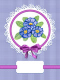 Card with primula flowers. Card with primulas and frame on checked background Royalty Free Stock Photo