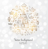 Card with princess' accessories. Stock Photography