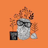 Card print with autumn owl. Stock Images