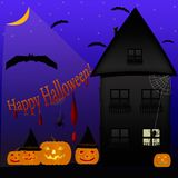 Card with pumpkins and bats in the moonlight on Halloween. Pumpk Stock Photos