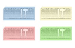 Card punched with abbreviation IT - cdr format. Set of four coloured punched cards with abbreviation IT Royalty Free Stock Photo