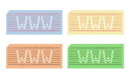 Card punched with abbreviation www - cdr format. Set of four coloured punched cards with abbreviation www Stock Images