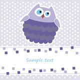 Card with purple owl. Greeting card with purple owl Stock Images