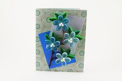 Card with quilling flowers. Card with quilling  blue flowers Stock Images