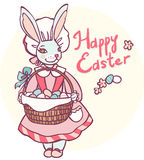 Card with rabbit holding a basket of Easter eggs Stock Photos