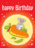 Card with a rabbit on a red background with carrot Royalty Free Stock Photos