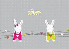Card with rabbits in love Royalty Free Stock Photography