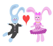 Card with rabbits in love Stock Photography