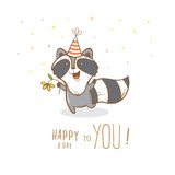 Card with raccoon. Royalty Free Stock Images