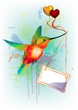 Card with rainbow humming-bird and place for text Royalty Free Stock Photos