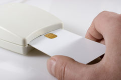 Card reader. With white card Stock Photo