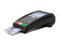 Card reader cashless payments. Card reader with plastic card cashless payments Stock Photos