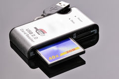 Card reader with CF card Royalty Free Stock Photography