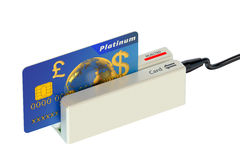 Card reader and credit card Royalty Free Stock Image