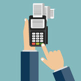 Card reader icon. Hand enters a pin code for a bank card on the payment card machine. Flat vector illustration Stock Images