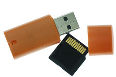 Card reader with memory card Royalty Free Stock Images