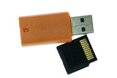 Card reader with memory card Royalty Free Stock Photography