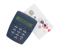 Card reader for reading a bank card Stock Photos