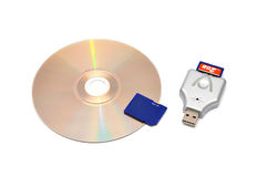 Card reader, USB flash drive and memory card Royalty Free Stock Images