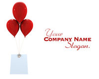 Card with red balloons. 3D rendering of a label hanging from three red flying balloons Stock Images