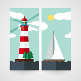Card with red beacon on island and sailboat. Stock Photography