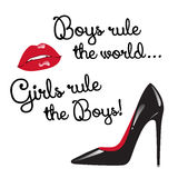 Card with red and black elements  - red glossy lips and high heeled shoes vector illustration. Design for teenage girls. Boys rule the world. Girls rule the Stock Image