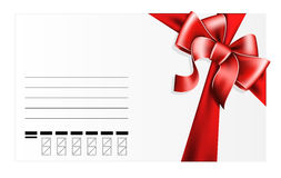 Card with red bow Stock Photos
