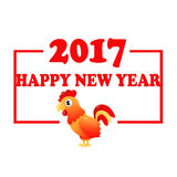 Card Red cock. Card Red rooster. Fiery cock. Symbol of 2017 on the Chinese calendar. Vector illustration Stock Image
