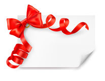 Card with red gift bow with ribbons Stock Photos