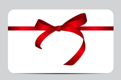 Card with Red Gift Ribbon. Vector illustration. EPS10 Royalty Free Stock Photos